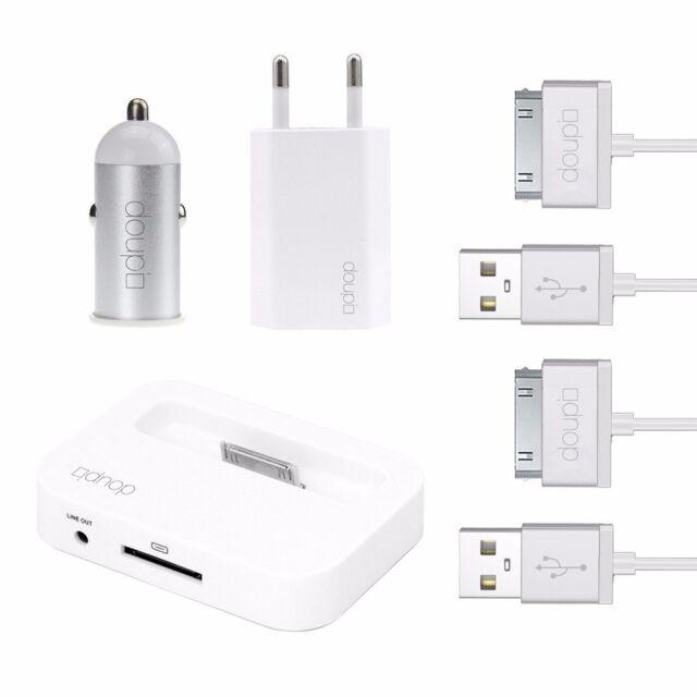 5in1 Lade Set Auto Adapter Netzteil Kabel Dockingstation iPhone 4 4S iPod Weiß