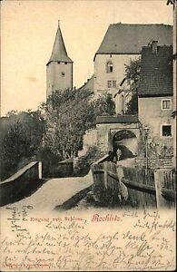 Rochlitz-Sachsen-AK-1909-Verlag-Brueck-amp-Sohn-Partie-Eingang-zum-Schloss-gelaufen