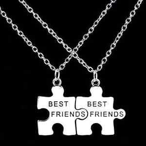 Partnerkette-BEST-FRIENDS-2-Partner-Anhanger-Ketten-Freundschaft-Puzzle-NEU