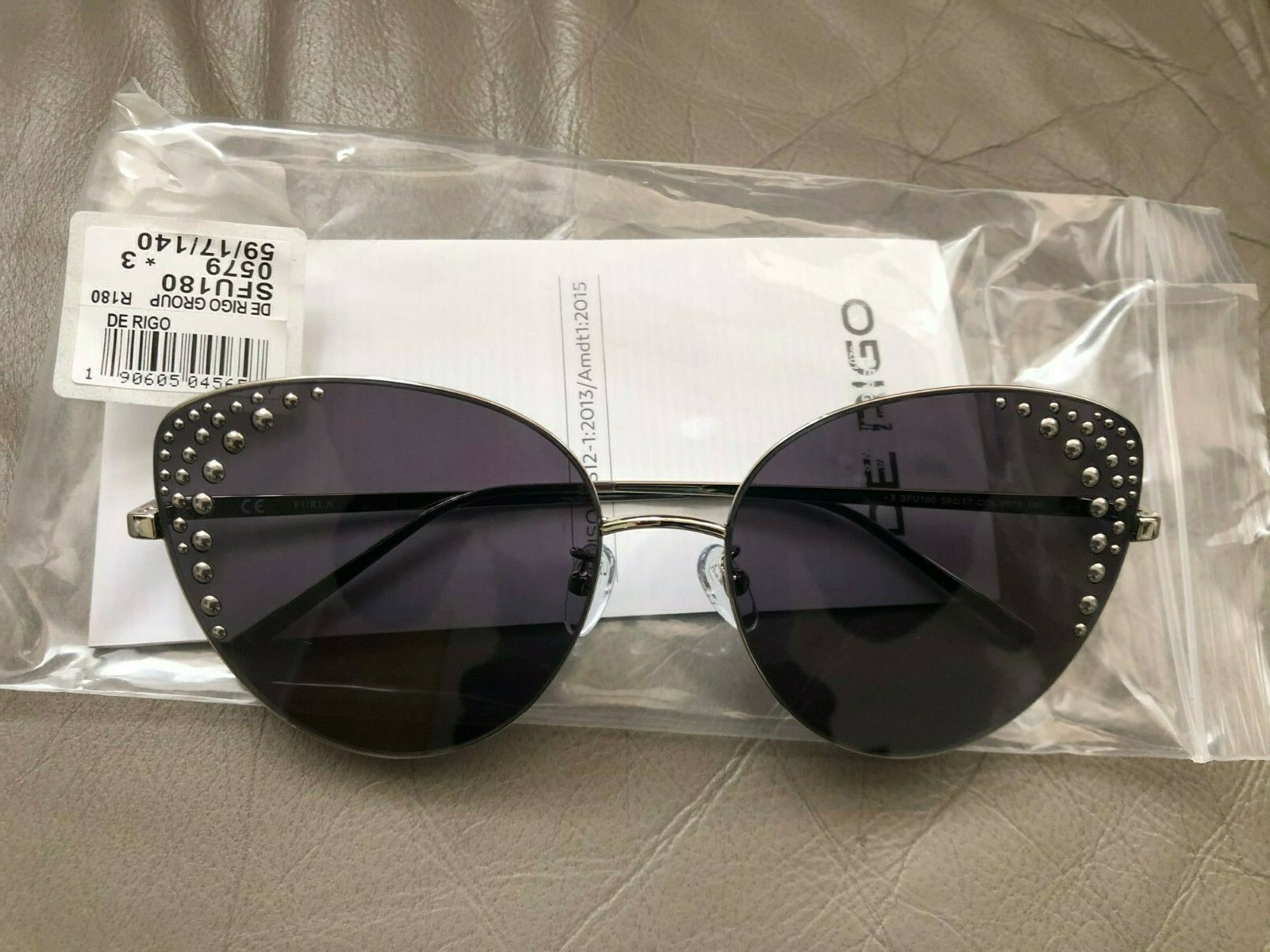 Authentic FURLA Cat Style SFU180 Women Metal Studs Silver Frame Sunglasses