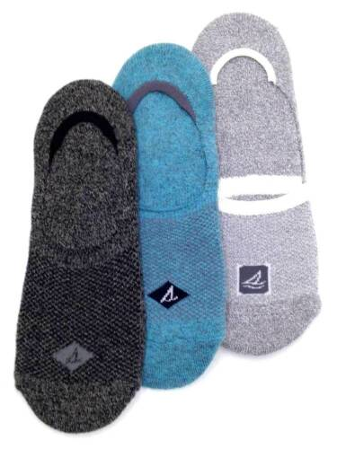 $40 Sperry Top-Sider Men/'S 3 Pair Pack Gray Blue No-Show Liner Socks Shoe 6-12