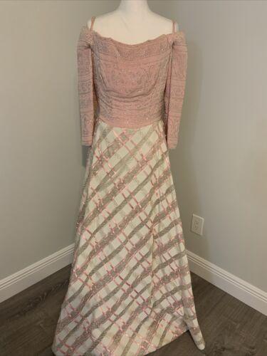 Arnold Scaasi Vtg Couture Pink Rhinestone Bodice/… - image 1