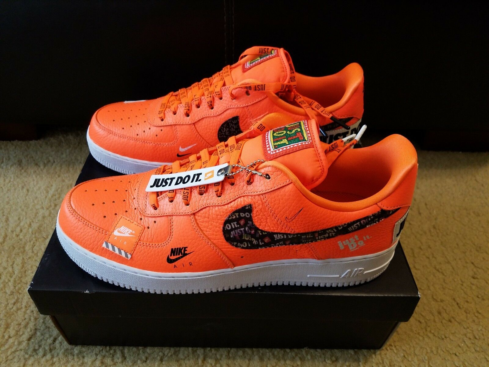 Nike Air Force 1 '07 Premium JDI Just Do It Uomo sz 13 Total Orange AR7719 800