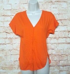 Michael-Kors-Women-Size-PS-Orange-T-shirt-Short-Sleeve-V-neck-Slit-on-side-33