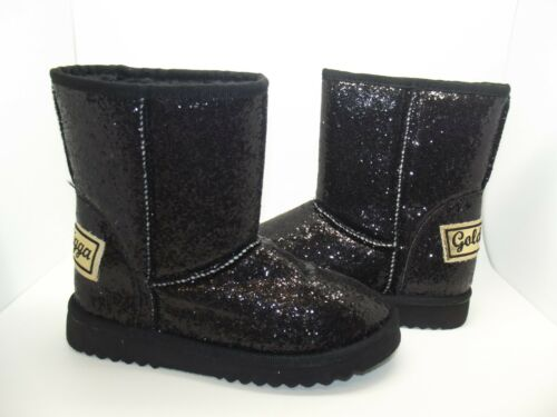 GOLDDIGGA LADIES GIRLS BLACK GLITTER PULL ON FAUX FUR LINED ANKLE BOOTS UK 3-8