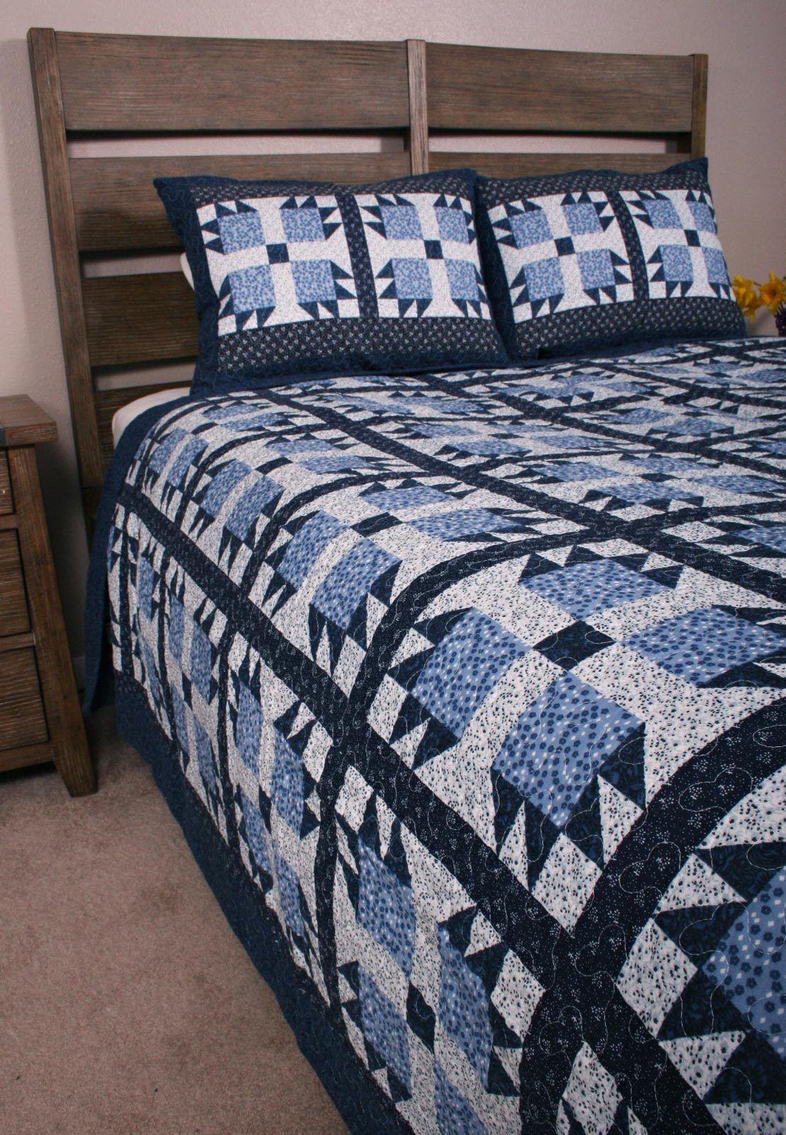 Queen Quilt Set bluee Bear Paw Cottage Cabin Life Garden Floral Bedding