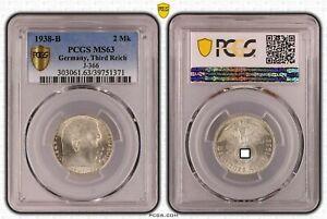 Drittes Reich 2 Reichsmark Hindenburg 1938 b PCGS zertifiziert MS63 51116