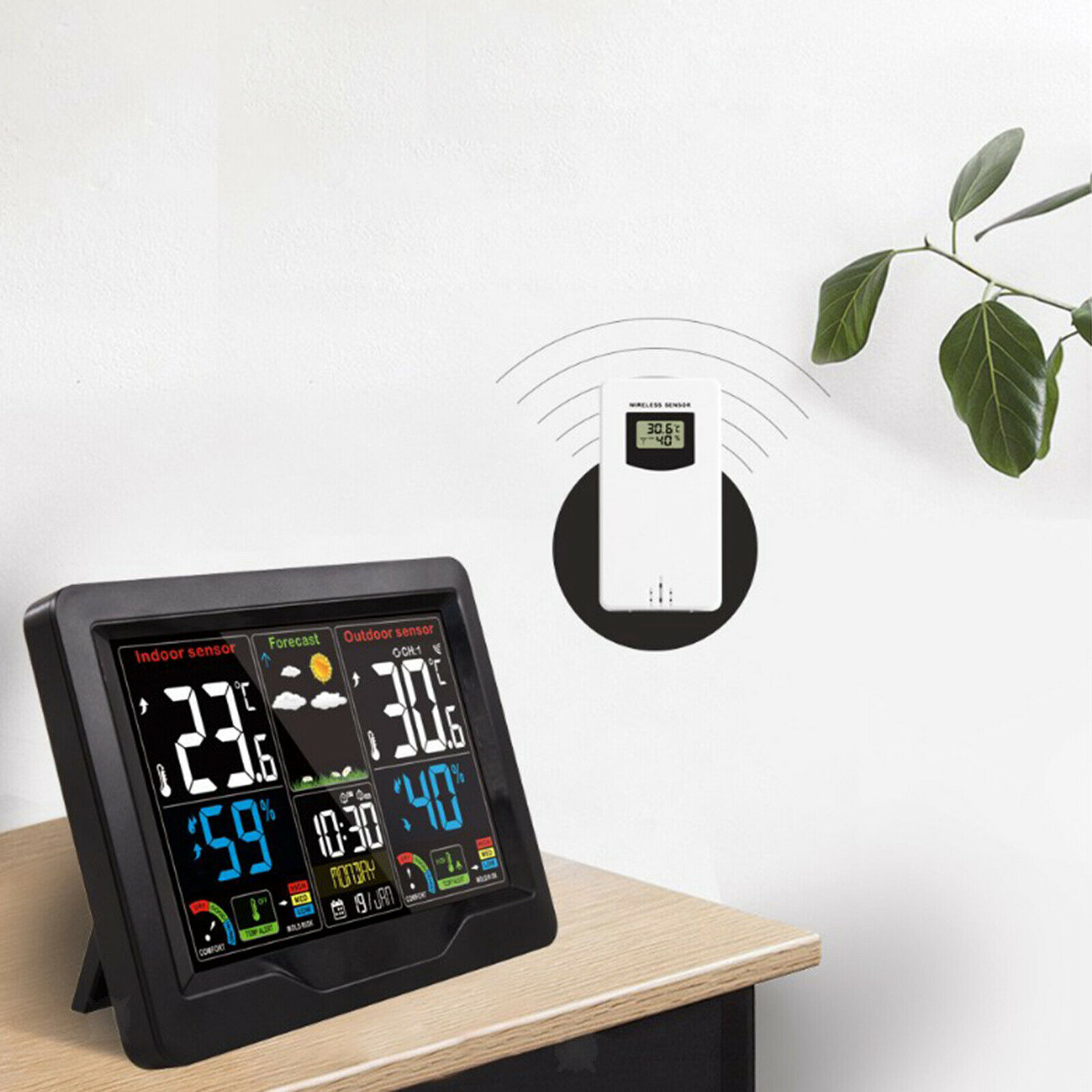 In/Outdoor Digital LCD Wireless Color Weather Station Calendar Thermometer Clock