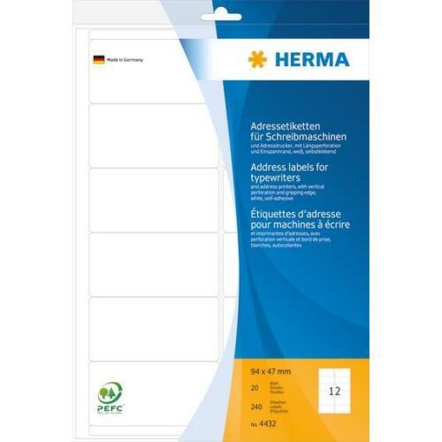 HERMA 4432 Adressetiketten für Schreibmaschinen A4 94x47mm 240 Stück matt weiß