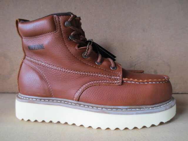 Men's 6  Wolverine Brown Steel Toe Flat Sole Leather Work Boot Size 13 M  8289