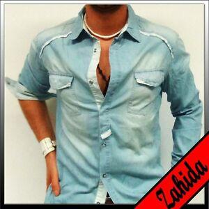 034-Sixth-June-034-hombre-camisa-manga-larga-Azul-Vaqueros-TALLA-S-M-L-XL-XXL-NUEVO