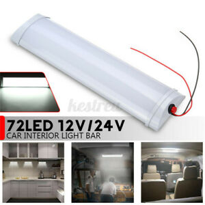 12-24V-72LED-Car-Interior-White-Strip-Light-Bar-Lamp-Van-Caravan-Boat