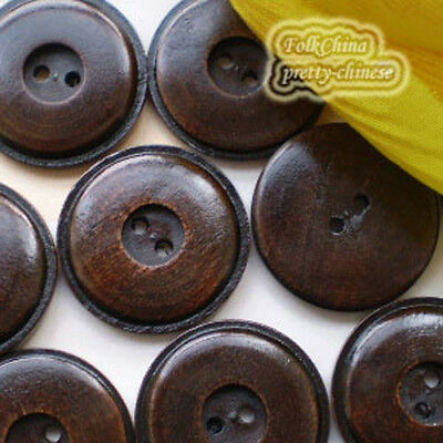 Brown Disc 2 Holes Wood Buttons Sewing Scrapbooking Craft 22mm,28mm,35mm C023