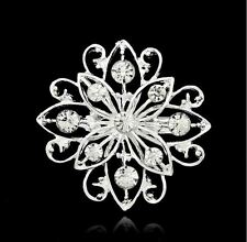 SMALL SILVER  WHITE TONE CUT-OUT DIAMANTE CRYSTAL FLOWER WEDDING BROOCH  PIN