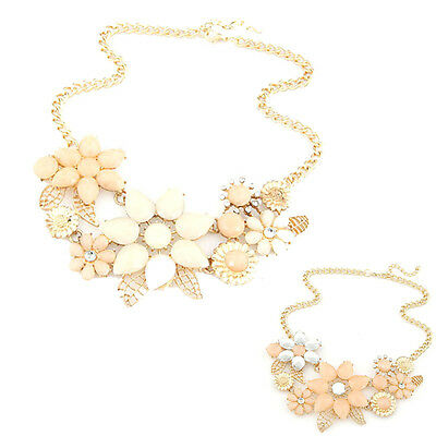 Pink&Beige Choker Bib Statement Necklace Collar Chain Pendant For Party