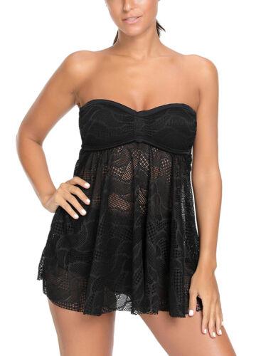 Schwarzer mesh ausschnitt strappy tankini badeanzug damen