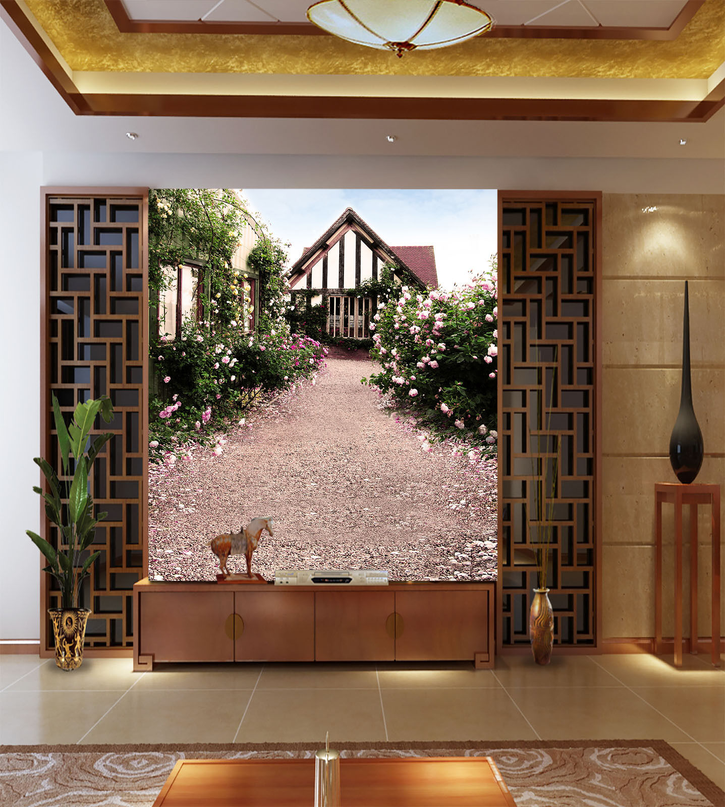3D Glass Houses Flowers Wall Paper Wall Print Decal Wall Deco Wall Indoor Murals