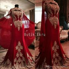 2017 Luxury Red Lace Arabic Dubai India Evening Dress Celebrity Prom Gown Custom
