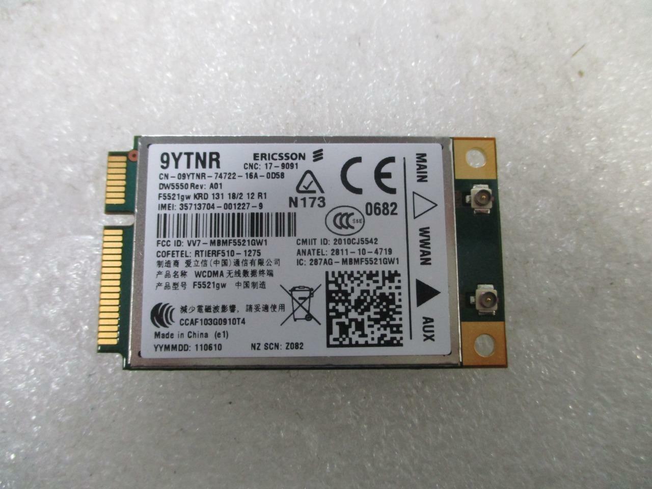 *NEW* Dell 5550 DW5550 WWAN Mobile Broadband Ericsson WIFI Card 09YTNR 9YTNR