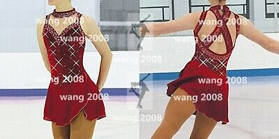 Figure Skating Dress Ice Skating Dress Competition Fashion Wine Red Ebay