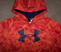 Under Armour Blaze Orange Navy Logo Hoodie Sweatshirt Top 5 Boys Red Tie Dye