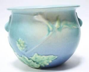 Roseville-Jardiniere-Planter-Blue-Thornapple-White-Flower-Art-Pottery-Pot