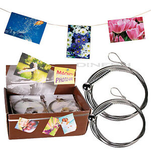fotodraht magnetisches fotoseil foto leine seil fotohalter bilderhalter magnet ebay. Black Bedroom Furniture Sets. Home Design Ideas