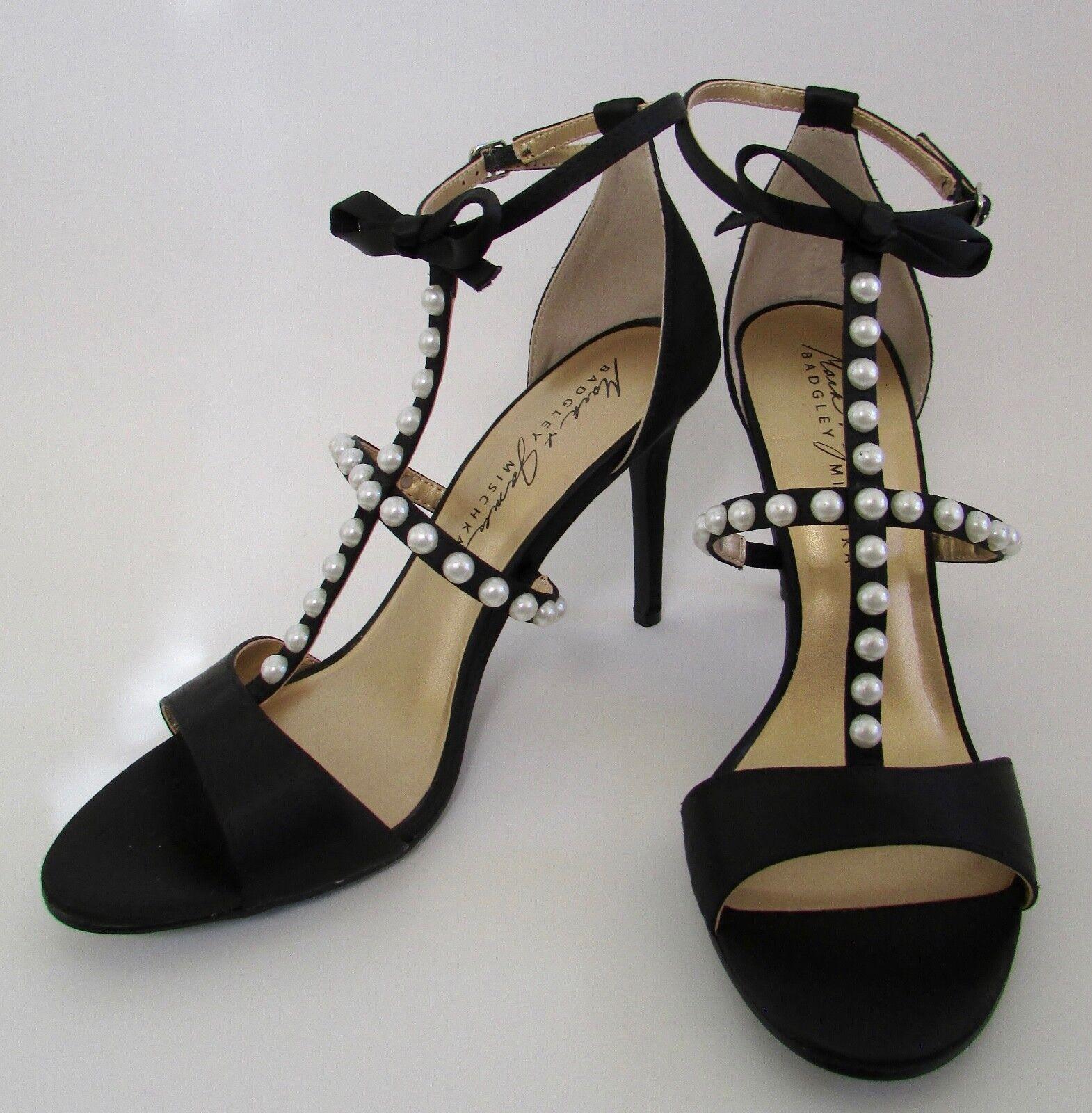 Badgley Mischka Perla Con Tachas T Correa Zapatos De Salón Satén Negro Sz 9