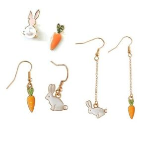 E867-Betsey-Johnson-White-Bunny-Rabbit-with-Carrot-Easter-Set-Pearl-Earrings-US
