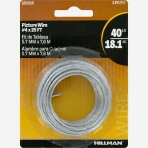 HILLMAN AnchorWire Picture Mirror Wire #4x 25ft Braided Steel Hanger 40lb 121112