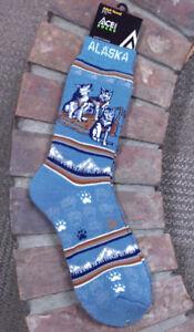 Alaska-Themed-Super-Thick-and-Warm-Dogteam-Socks-adult-sizes-9-12-Towel-socks
