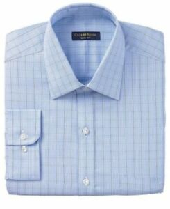 Club-Room-Slim-Fit-Blue-Glen-Plaid-100-Cotton-Dress-Shirt-17-5-36-37-Easy-Care