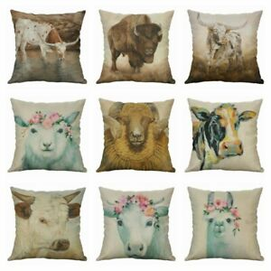 """Pillow Case Cow Printing 18/"""" Cotton Linen Animal Cushion Cover Home Décor Sheep"""