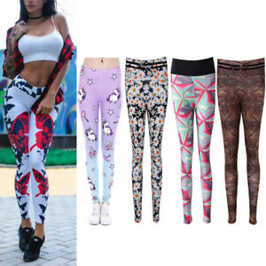 dcd2c18fd1 Image is loading Women-Girls-Unicorn-Flower-Yoga-Gym-Legging-Fitness-
