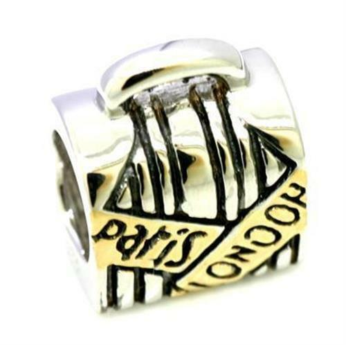 London Paris Bag 9ct 375 Solid gold Bead Charm FITS EURO BRACELETS 30 Day Return