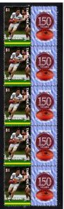 TASMANIA-FC-VFL-150th-FOOTBALL-STRIP-OF-10-VIGNETTE-STAMPS