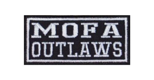 MOTORINO Outlaws PATCH RICAMATE BADGE Biker Heavy Rocker STAFFA immagine tonaca 2 clock STIC