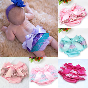 Baby Girls Lace Ruffle Shorts Pants Newborn Nappy Diaper Cover Bloomers Panties