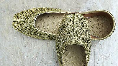 Oro señoras de cuero Indio Boda Fiesta Zapatos Talla 7 (ODD)