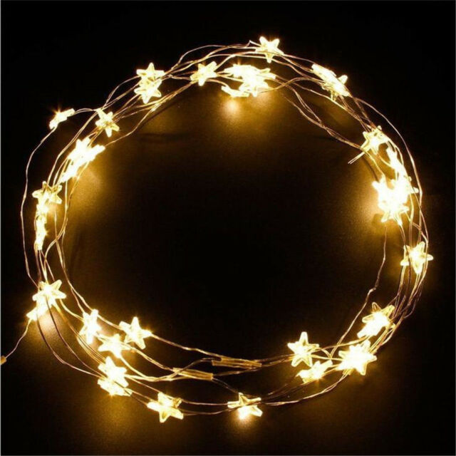 new concept 825d9 336cd Star Fairy Lights 30 Warm White LED Indoor Bedroom Christmas Party String  Lights