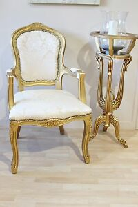 French Louis Armchair Gold Damask Shabby Chic Bed Room Antique Style ...
