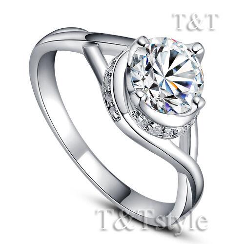TTstyle Elegant RHODIUM 925 Sterling Silver Whirl Engagement Wedding Ring