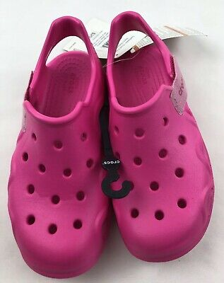 Neon Magenta Crocs Swiftwater Wave Kids