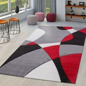 Tapis Moderne Salon Abstrait Decoupe Des Contours En Noir Gris Rouge