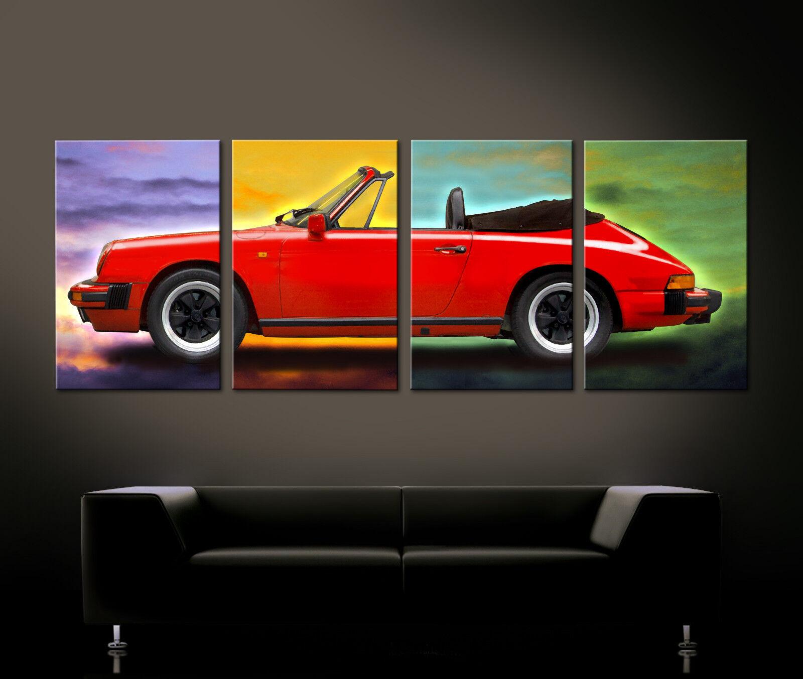 Pop Art Rosso Porsche 911 Carrera Immagine Immagine Immagine Tela Boxer Vintage Classico Modello G e86201