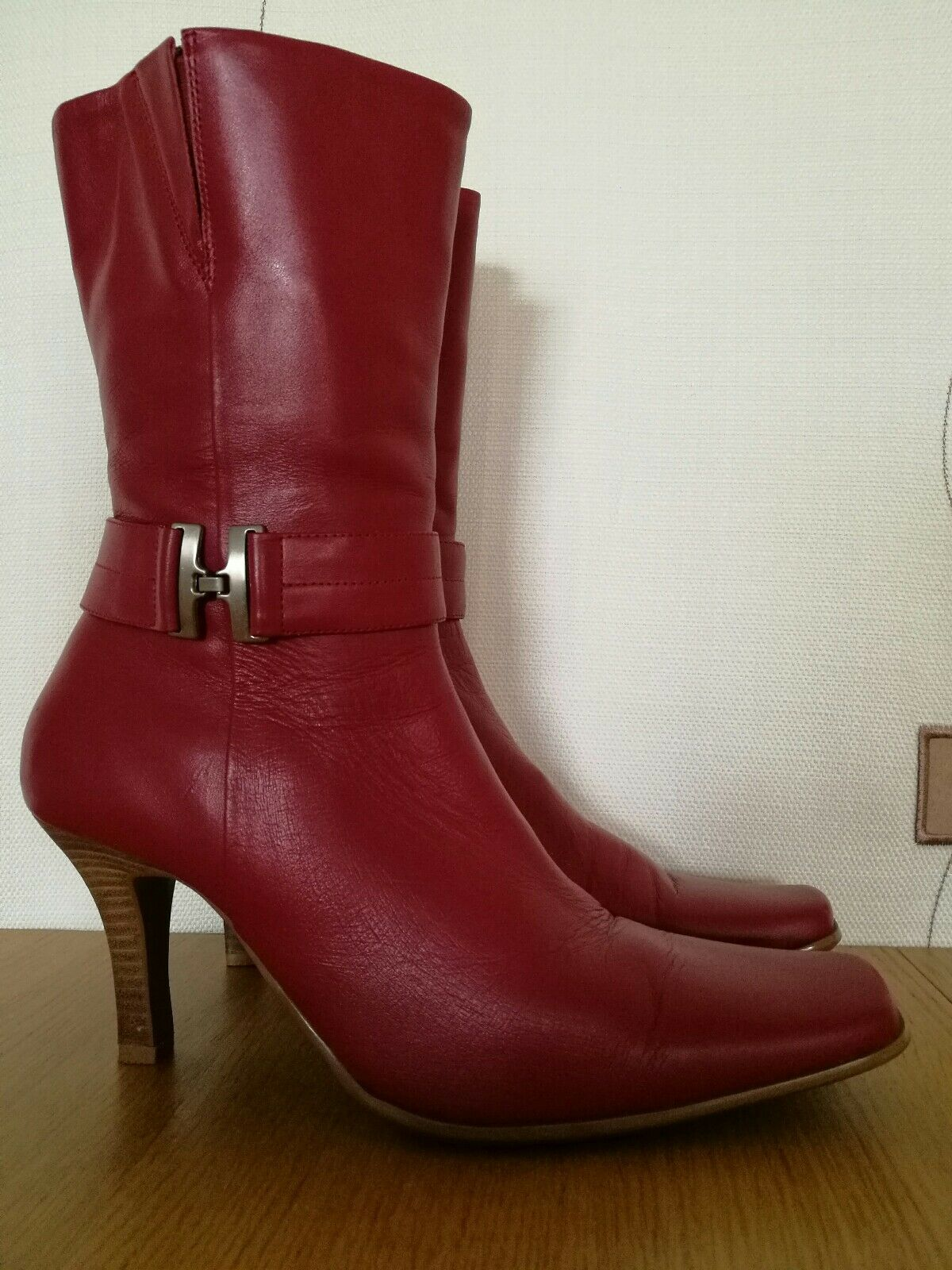 BOOTS 6.5 HEELS UK 40 EUR RED LEATHER HEELS 6.5 BRUNO VALENTI DESIGNER 03c293