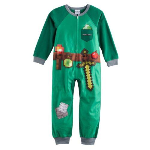 NWT Minecraft Pajamas Emerald Armor One Piece Boy Union Suit Pajama Sz 10