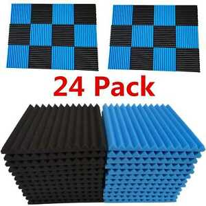 24-Pack-Acoustic-Foam-Panel-Wedge-Studio-Soundproofing-Wall-Tiles-1-034-X-12-034-X-12-034