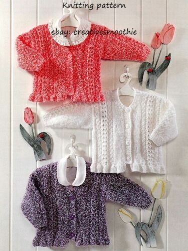 327 Baby Knitting Pattern Girls Cardigans with lace /& frills in large print
