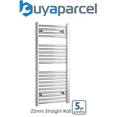 Chrome Straight 600 x 1200 Heated Towel Rail Warmer Radiator Rad 22mm D Rail